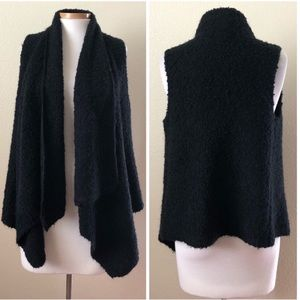 Soft Joie Black Sherpa Fuzzy Open Sweater Vest